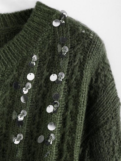 Crew Neck Sequins Sweater - ARMY GREEN ONE SIZE Mobile