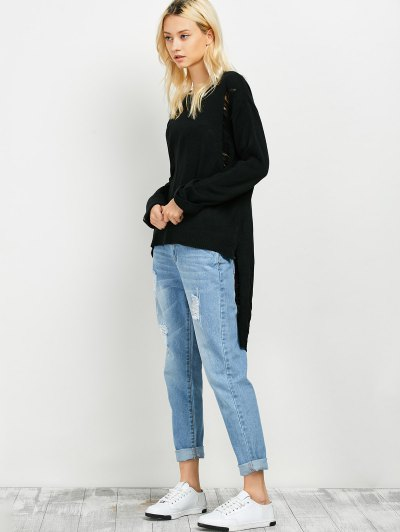 Oversized High Low Ripped Sweater - BLACK ONE SIZE Mobile