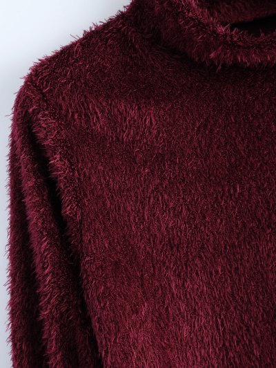High Neck Fuzzy Cropped T-Shirt - WINE RED XL Mobile