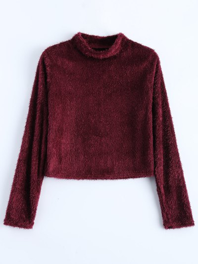 High Neck Fuzzy Cropped T-Shirt - WINE RED S Mobile