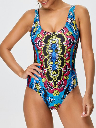 High Leg Printed Swimsuit - MULTICOLOR L Mobile