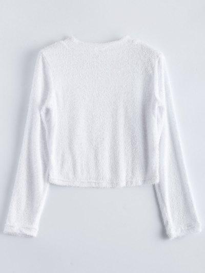 High Neck Fuzzy Cropped T-Shirt - WHITE XL Mobile