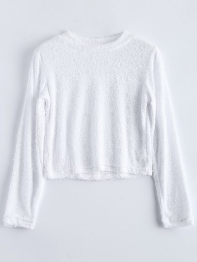 High Neck Fuzzy Cropped T-Shirt - WHITE M Mobile
