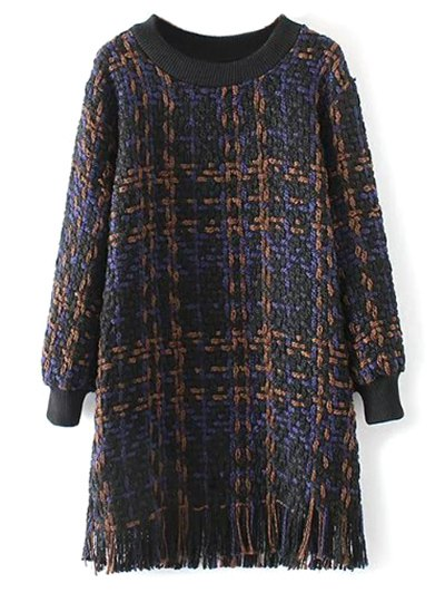 Heathered Fringed Sweater Dress - PURPLISH BLUE L Mobile