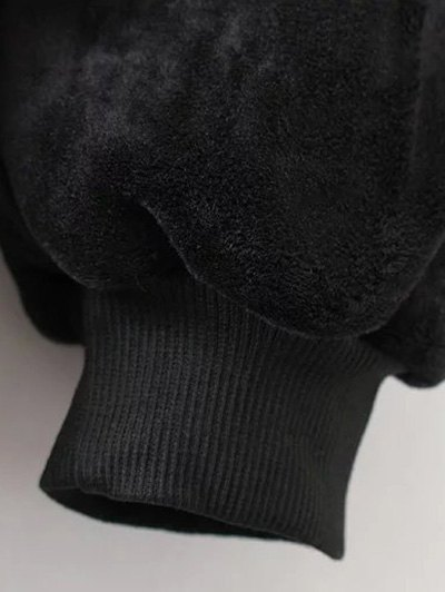 Embroidered Sequin Fluffy Sweatshirt - BLACK M Mobile