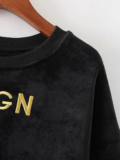 Embroidered Sequin Fluffy Sweatshirt - BLACK S Mobile