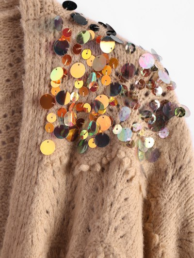 Longline Sequins Open Knit Cardigan - KHAKI ONE SIZE Mobile