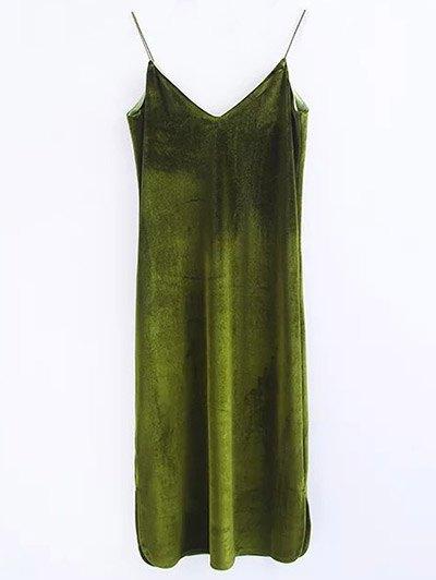Cami Velvet Midi Dress - OLIVE GREEN M Mobile