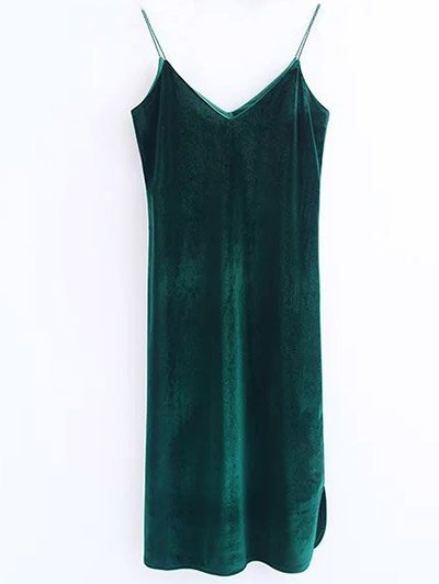 Cami Velvet Midi Dress - BLACKISH GREEN M Mobile