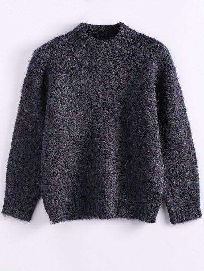 Funnel Neck Fluffy Sweater - PURPLISH BLUE ONE SIZE Mobile