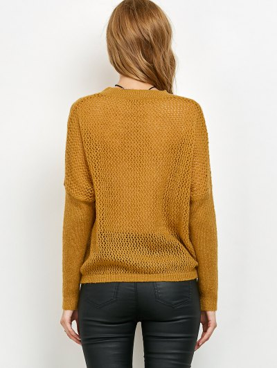 Cable Knit Batwing Sleeve Jumper - YELLOW ONE SIZE Mobile