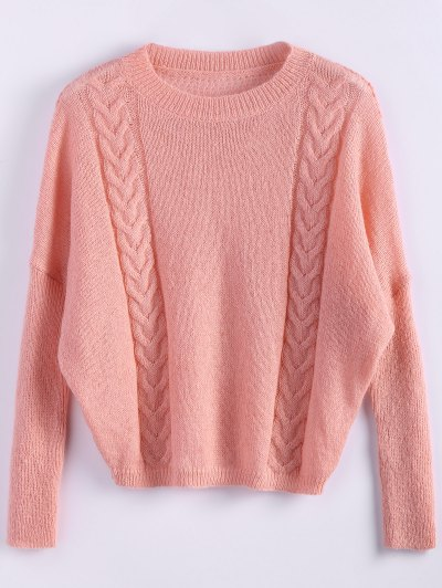 Cable Knit Batwing Sleeve Jumper - ORANGEPINK ONE SIZE Mobile