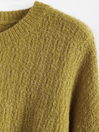 Dropped Shoulder Crew Neck Sweater - BLUISH YELLOW ONE SIZE Mobile