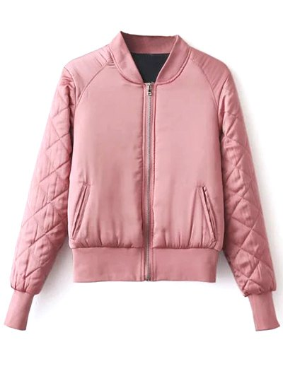 Stand Neck Quilted Jacket - PINK M Mobile