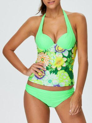 Floral Halter Underwire Tankini Swimsuit - Green