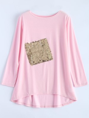 Sequined Asymmetric T-Shirt - Pink