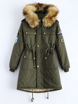 Patch Hooded Parka Coat - Army Green