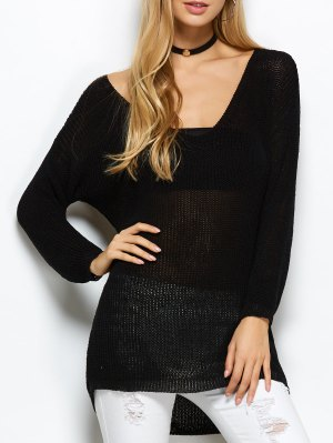 V Neck Open Stitch Sweater - Black