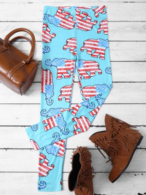 Elephant Pattern Leggings - Lake Blue
