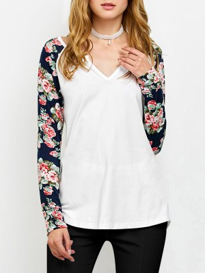 Low Cut Floral Print Sleeves Tee - White