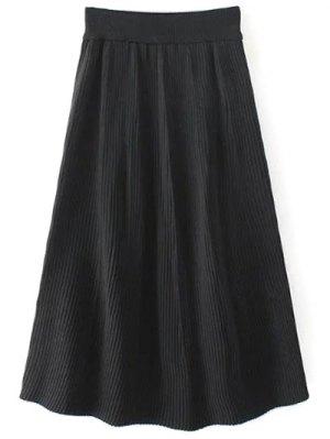 Knitted Ribbed Midi Skirt - Black