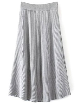 Knitted Ribbed Midi Skirt - Gray