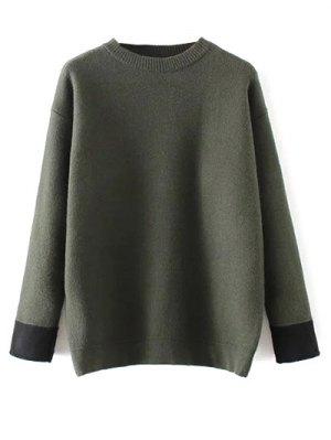 Crew Neck Drop Shoulder Sweater - Green