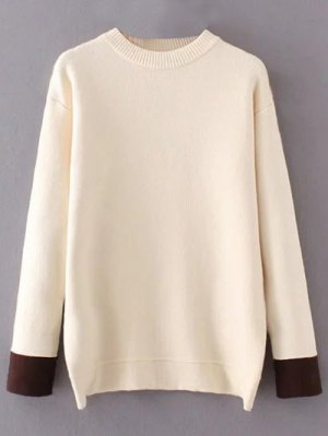 Crew Neck Drop Shoulder Sweater - Off-white