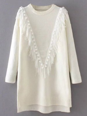 Tassel Round Neck High Low Jumper - White