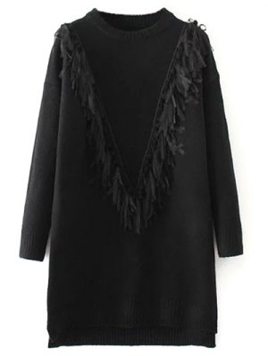 Tassel Round Neck High Low Jumper - Black