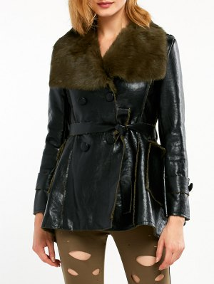 Faux Fur Collar Faux Leather Coat - Black And Green