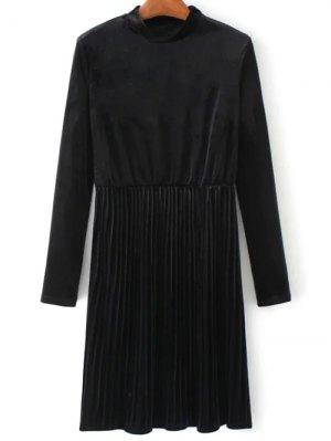 Long Sleeve Vintage Velvet Pleated Dress - Black