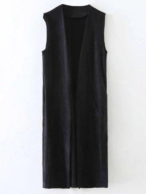 Longline Side Slit Suede Waistcoat - Black