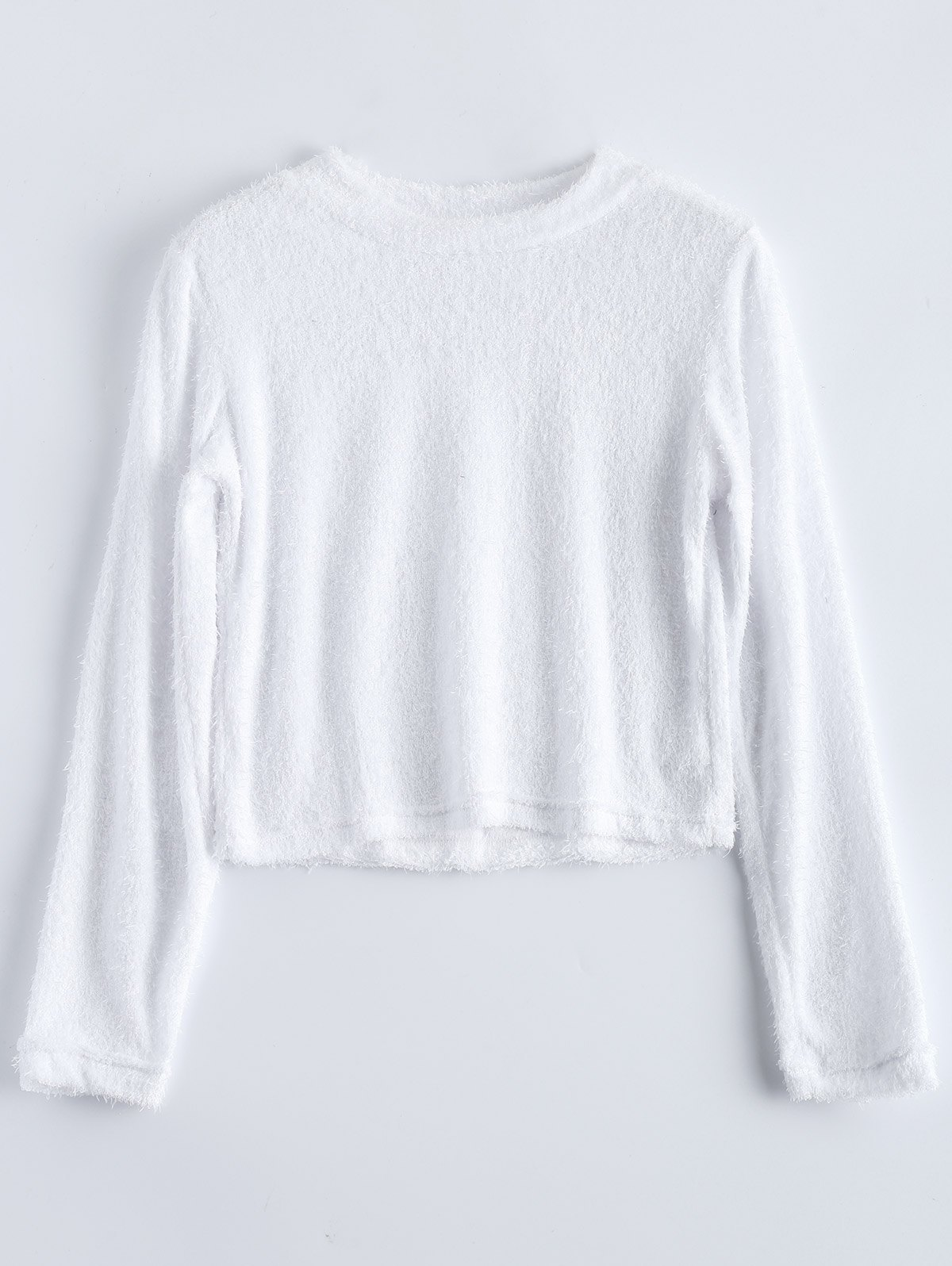 Fuzzy Cropped Mock Neck T-Shirt