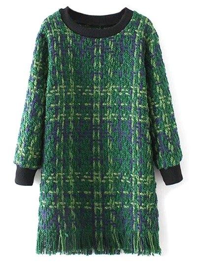 Fringe Heathered Sweater Dress