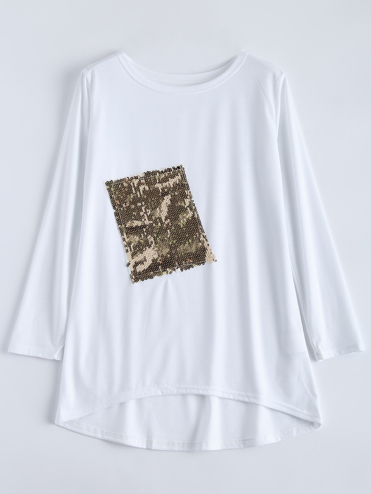 Asymmetric Sequined T-Shirt