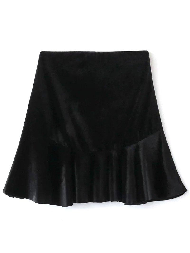 Velvet Flounce Ruffles A-Line Skirt