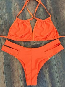 Lace-Up Orange Bikini Set