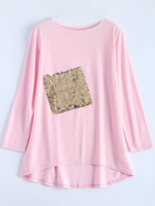 Sequined Asymmetric T-Shirt