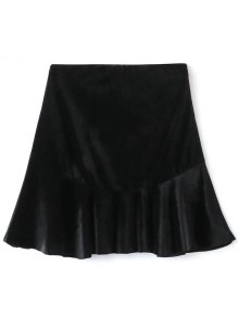 Flounced Velvet A-Line Skirt