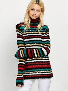 Sequins Striped Turtleneck Sweater