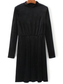 Long Sleeve Vintage Velvet Pleated Dress