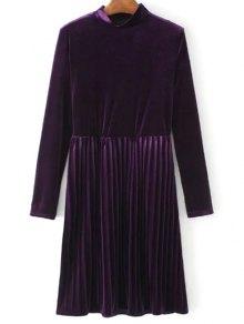 Long Sleeve Vintage Velvet Pleated Dress