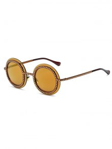 Rivet Gear Shape Round Mirrored Sunglasses