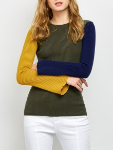 Contrast Bell Sleeve Ribbed Sweater