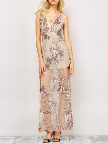 Low Cut High Slit Sequins Maxi Dress - Apricot