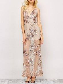 Low Cut High Slit Sequins Maxi Dress