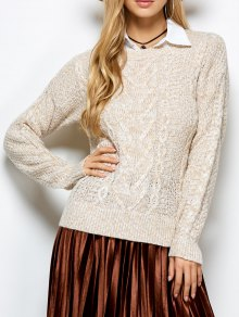 Heather Cable Knit Sweater - Khaki