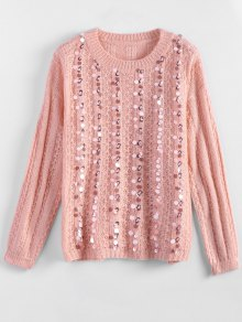 Crew Neck Sequins Sweater