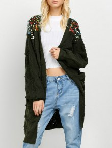 Longline Sequins Open Knit Cardigan